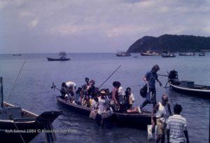 Aankomst reisigers op Koh Samui 1984
